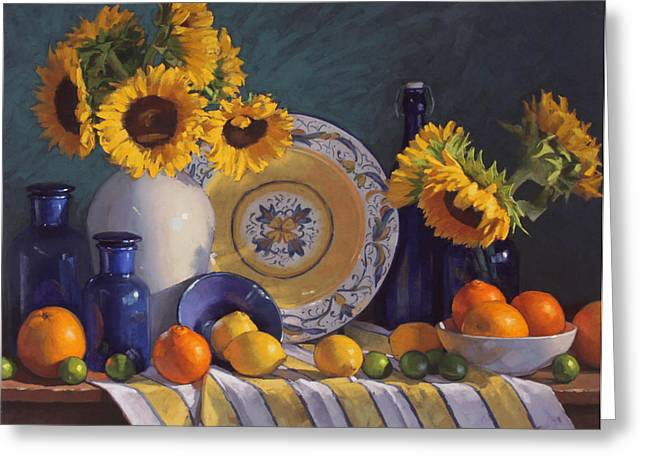 Sunflowers Pastels Greeting Cards - Still Life with Sunflowers and Citrus Greeting Card by Sarah Blumenschein