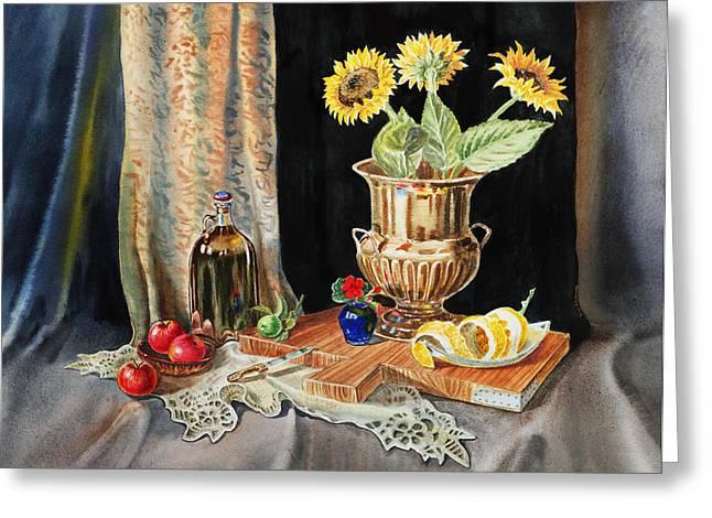 Harvest Art Paintings Greeting Cards - Still Life With Sunflowers Lemon Apples And Geranium  Greeting Card by Irina Sztukowski