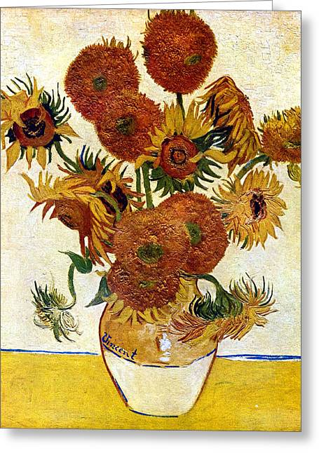 Old Masters Greeting Cards - Still Life With Sunflowers Greeting Card by Vincent Van Gogh