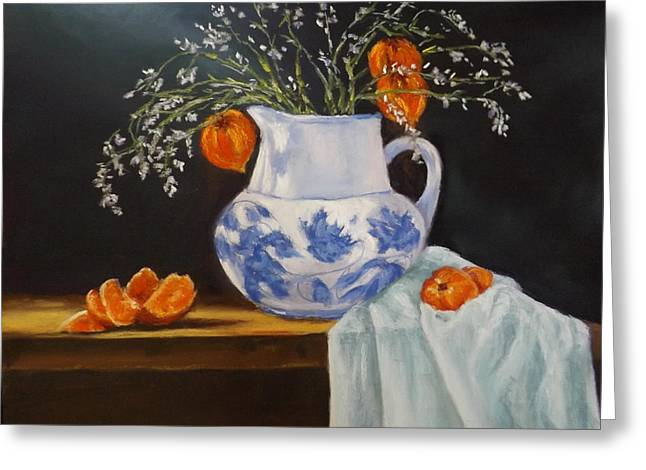 Still Life With Pitcher Paintings Greeting Cards - Still Life With Tangerines Greeting Card by Erin Cronin-webb