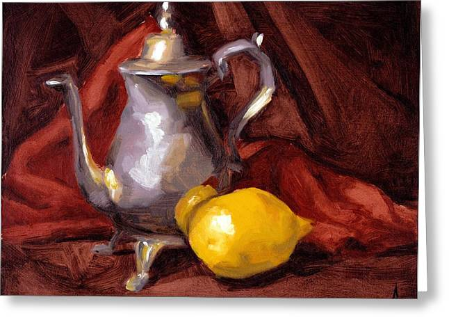 Lemon Art Greeting Cards - Still Life with Tea Pot Greeting Card by Alison Schmidt Carson