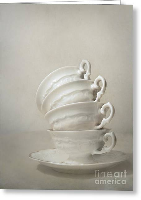 Hand Made Greeting Cards - Still life with teacups Greeting Card by Jaroslaw Blaminsky