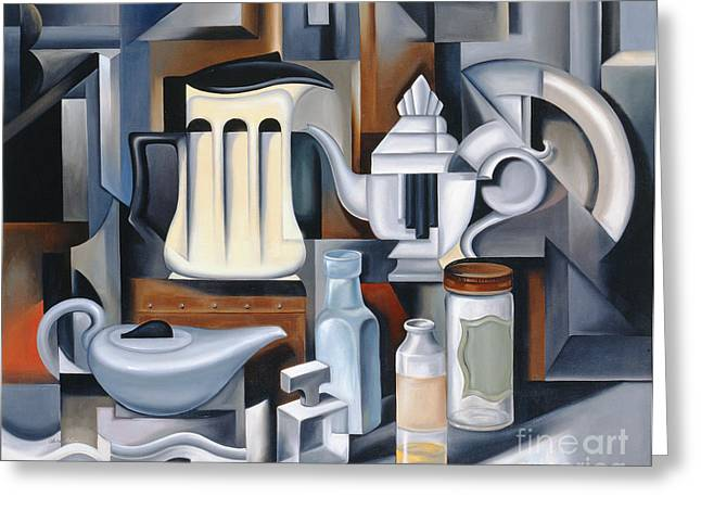 Still Life With Teapots Greeting Card by Catherine Abel