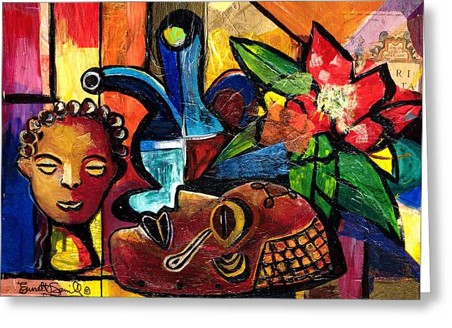 Everett Spruill Mixed Media Greeting Cards - Still Life with Terracotta and Mask 2008 Greeting Card by Everett Spruill