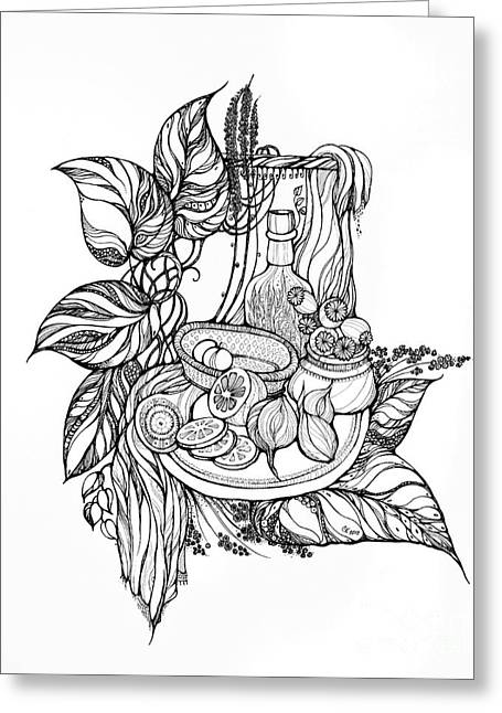 Lemon Art Drawings Greeting Cards - Still Life with tincture Greeting Card by Sviatlana Kandybovich