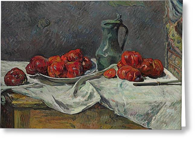 Close Up Paintings Greeting Cards - Still life with tomatoes Greeting Card by Paul Gaugin