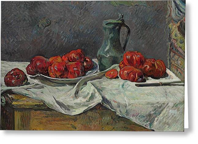 Still Life With Fruit Greeting Cards - Still life with tomatoes Greeting Card by Paul Gauguin