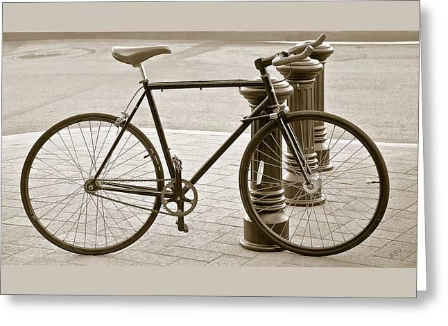Still Life With Trek Bike In Sepia Greeting Card by Ben and Raisa Gertsberg
