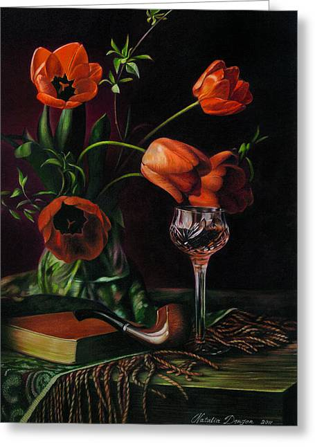 Mahogany Red Greeting Cards - Still Life with Tulips - drawing Greeting Card by Natasha Denger
