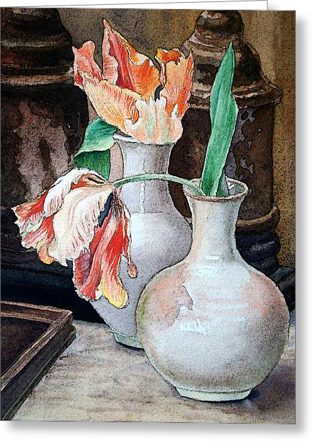 Still-life With Flowers Greeting Cards - Still Life With Tulips Greeting Card by Irina Sztukowski