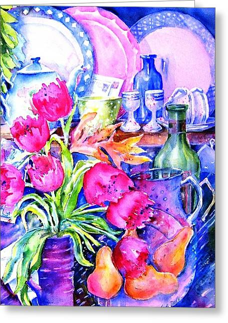 Cornucopia Paintings Greeting Cards - Still Life with Tulips  Greeting Card by Trudi Doyle