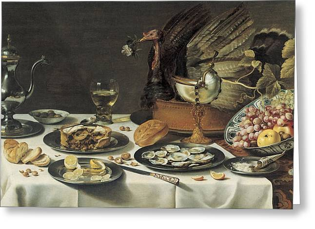 Still-life With Wine Greeting Cards - Still Life with Turkey Pie Greeting Card by Pieter Claesz