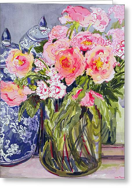 Best Sellers -  - Glass Vase Greeting Cards - Still Life with Two Blue Ginger Jars Greeting Card by Joan Thewsey