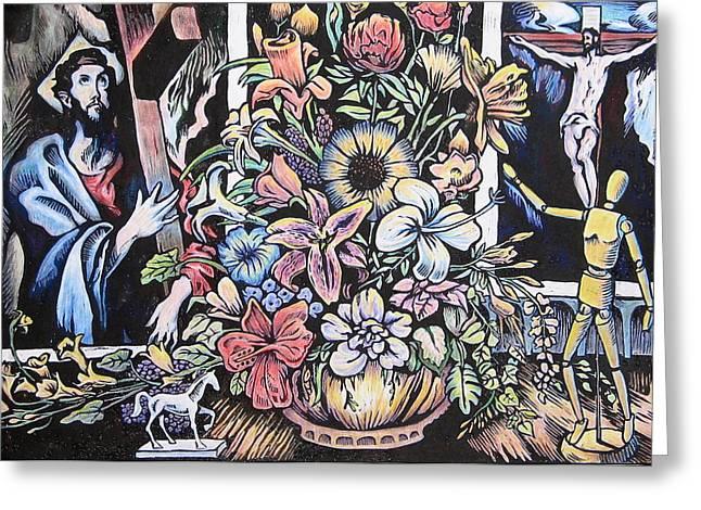 Linoleum Cut Greeting Cards - Still Life with Two El Grecos Greeting Card by Daniel Jimick