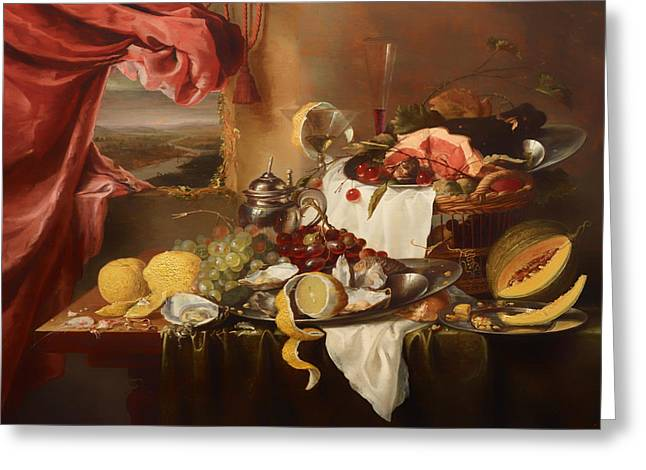 Banquet Greeting Cards - Still Life with View Greeting Card by Laurens Craen