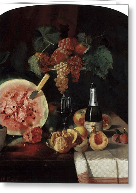 Still-life With Peaches Greeting Cards - Still Life with Watermelon Greeting Card by William Merritt Chase