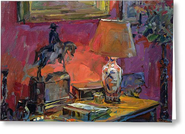Bureau Greeting Cards - Still Life With Wellington, 1998 Oil On Canvas Greeting Card by Susan Ryder