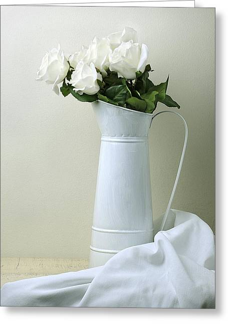 Still Life With White Roses Greeting Card by Krasimir Tolev