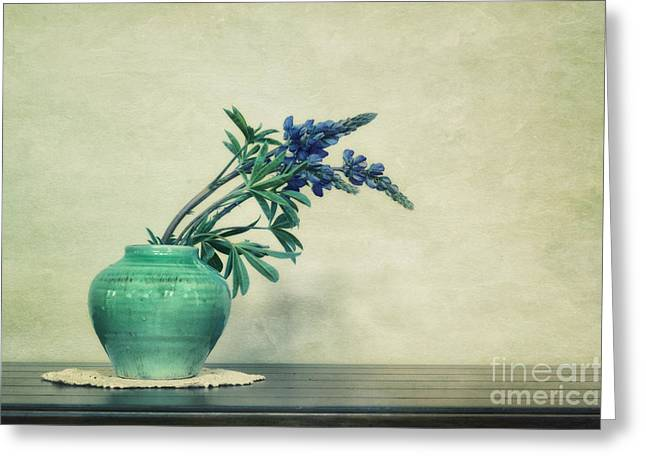Simplicity Greeting Cards - Still life with Yukon Lupines Greeting Card by Priska Wettstein