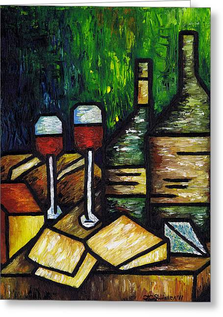 Glass Bottle Greeting Cards - Still Life With Wine and Cheese Greeting Card by Kamil Swiatek