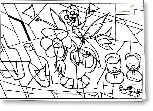 Famous African Americans Drawings Greeting Cards - Still Life with Wine and Flowers - Drawing Greeting Card by Everett Spruill