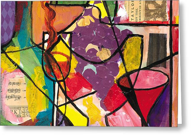 Speeches Mixed Media Greeting Cards - Still Life with wine and Fruit B Greeting Card by Everett Spruill