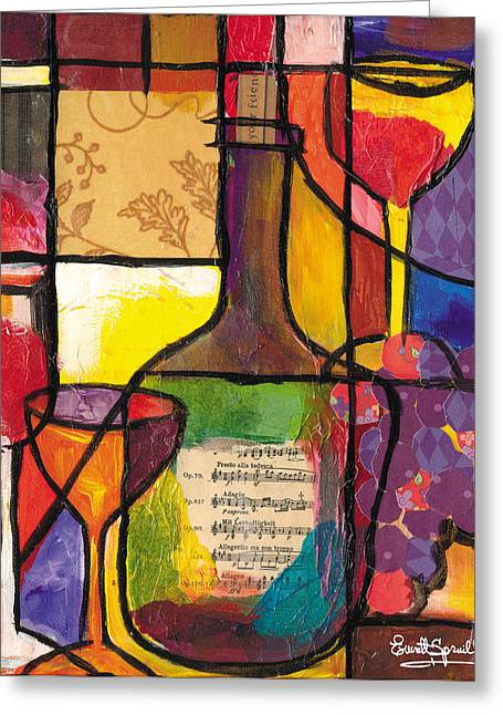 Everett Spruill Mixed Media Greeting Cards - Still Life with Wine and Fruit Greeting Card by Everett Spruill