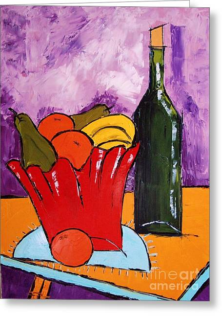 Red Wine Prints Greeting Cards - Still Life With Wine Bottle Greeting Card by Atelier De  Jiel