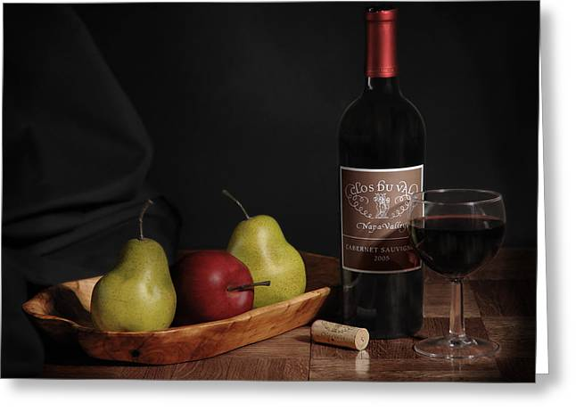 Wine Pyrography Greeting Cards - Still Life with Wine Bottle Greeting Card by Krasimir Tolev
