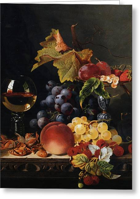 Fruit And Wine Digital Greeting Cards - Still Life With Wine Glass And Silver Tazz Greeting Card by Edward Ladell