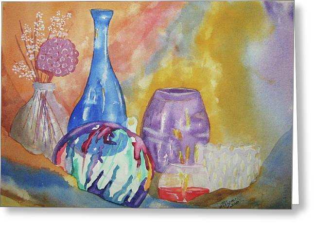 Glass Wall Greeting Cards - Still Life with Witching Ball Greeting Card by Ellen Levinson