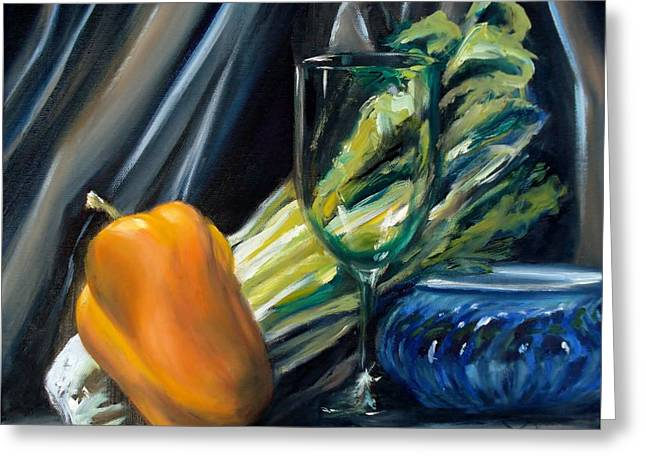Wine-glass Greeting Cards - Still Life with Yellow Pepper Bok Choy Glass and Dish Greeting Card by Donna Tuten