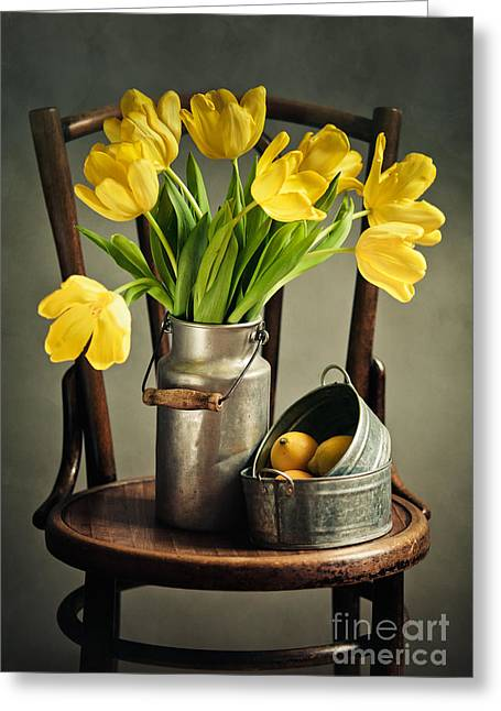 Citron Greeting Cards - Still Life with Yellow Tulips Greeting Card by Nailia Schwarz