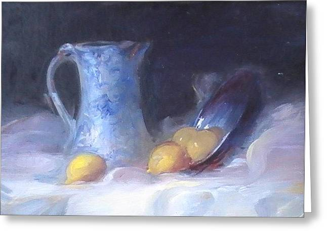 Still Life With Old Pitcher Paintings Greeting Cards - Still Life with Yellows and Blues Greeting Card by Patricia Kimsey Bollinger