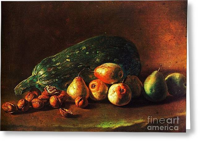Italian Kitchen Greeting Cards - Still life - Zuchini -Pears - Walnuts Greeting Card by Pg Reproductions