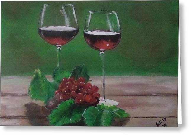 Red Wine Prints Greeting Cards - Still Life...Red on Red Greeting Card by Julie Hollis