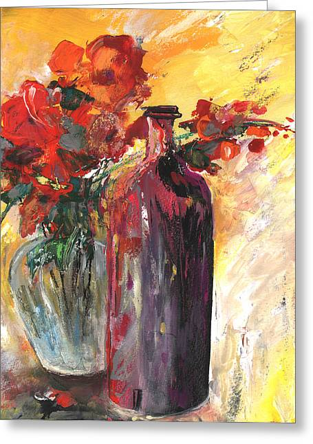 Still Live With Flowers Vase And Black Bottle Greeting Card by Miki De Goodaboom