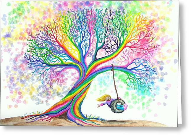Girl Digital Greeting Cards - Still MOre Rainbow Tree Dreams Greeting Card by Nick Gustafson