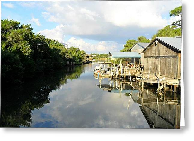 Cedar Key Greeting Cards - Still Reflection Greeting Card by Sheri McLeroy