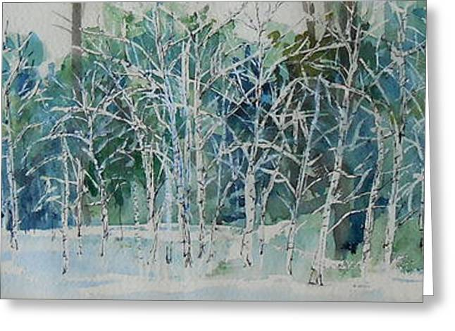 Snow Tree Prints Greeting Cards - Still Standing in the Snow Greeting Card by Tamara Gonda