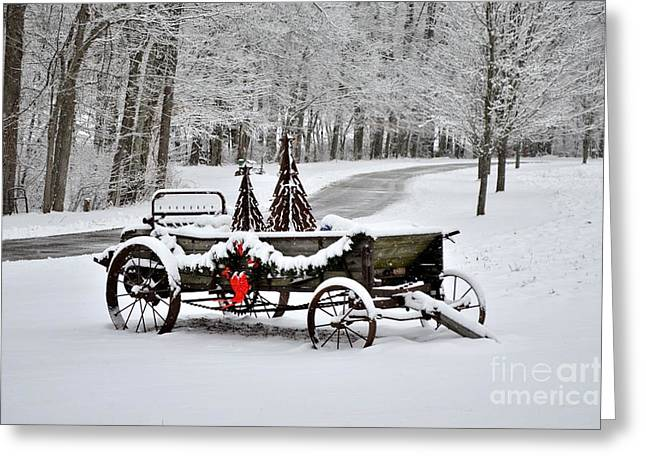 Horse Driven Wagon Greeting Cards - Still Useful  Greeting Card by Charles Trinkle
