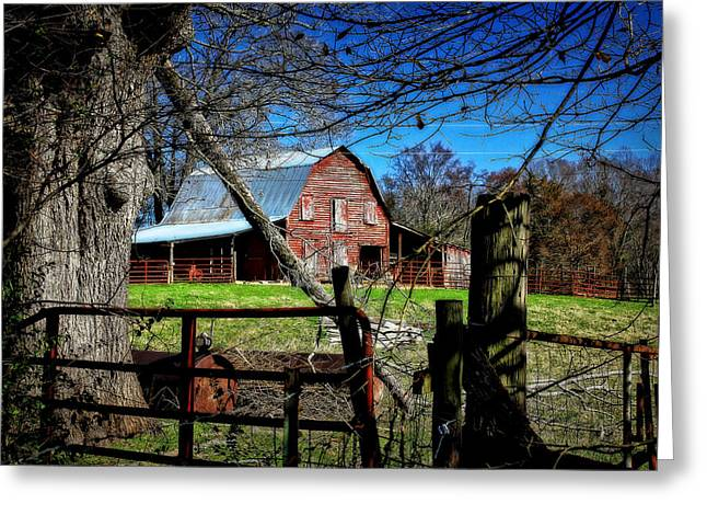 Old Fence Post Greeting Cards - Still Useful Rustic Red Barn Oconee County Greeting Card by Reid Callaway