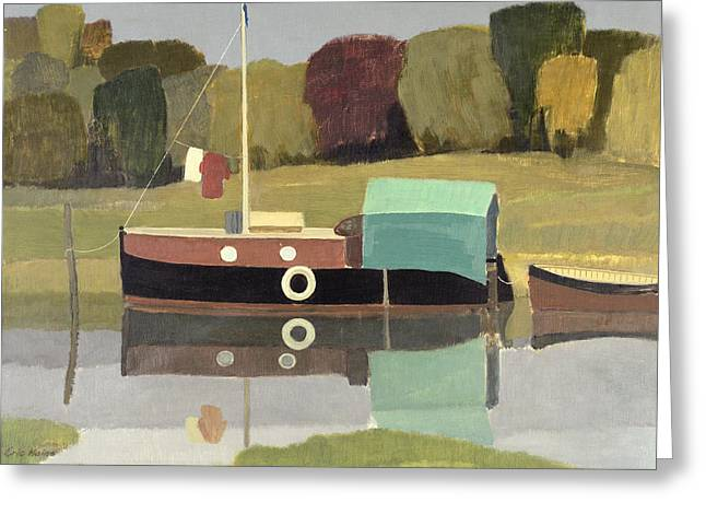 Barge Greeting Cards - Still Water Oil On Canvas Greeting Card by Eric Hains