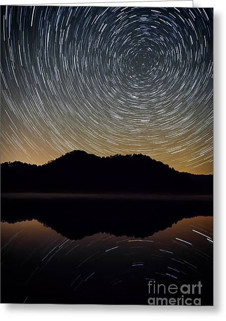 Calm Waters Greeting Cards - Still water star trails Greeting Card by Anthony Heflin