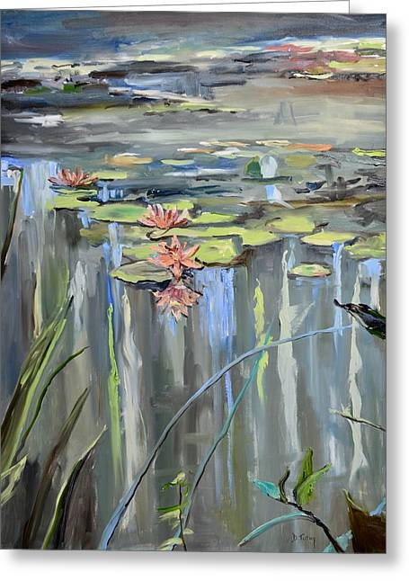 Lilly Pads Greeting Cards - Still Waters Greeting Card by Donna Tuten