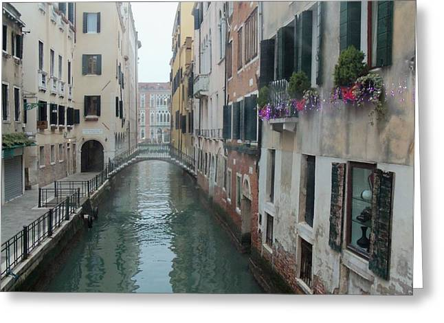 Buildings By The Sea Greeting Cards - Still Waters in Venice Italy Greeting Card by Jan Moore