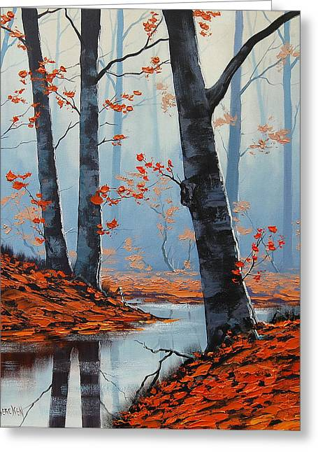 Fall Trees Greeting Cards - Still Woodland Greeting Card by Graham Gercken