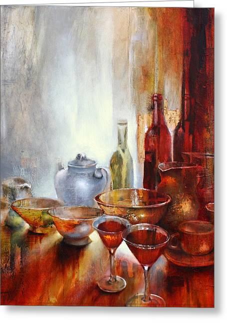 Flasche Greeting Cards - Stillleben mit grauer Teekanne Greeting Card by Annette Schmucker