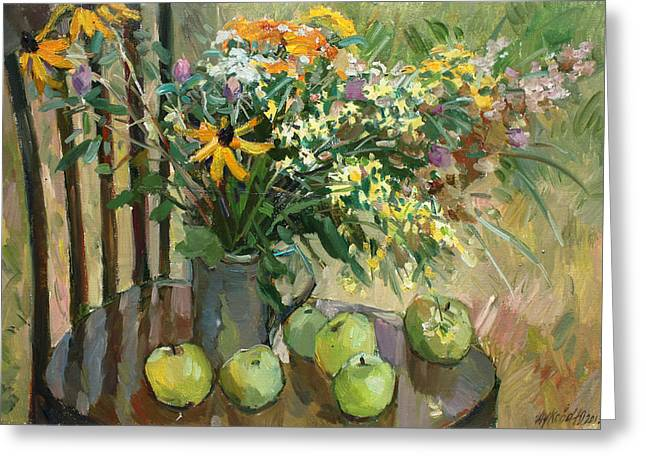 Still Life With Green Apples Greeting Cards - Stilllife with apples Greeting Card by Juliya Zhukova