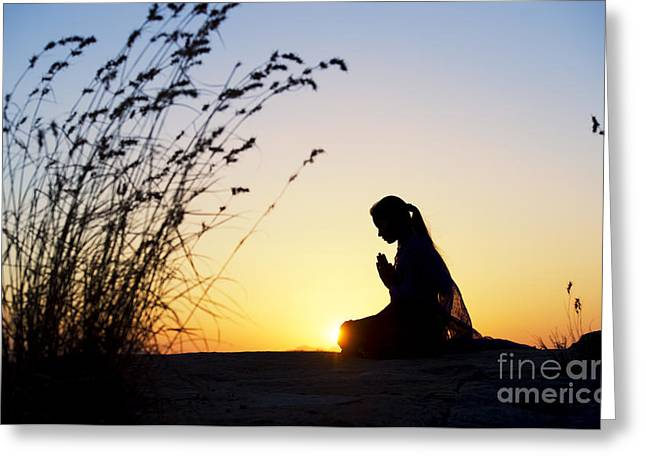 Stillness Of Prayer Greeting Card by Tim Gainey